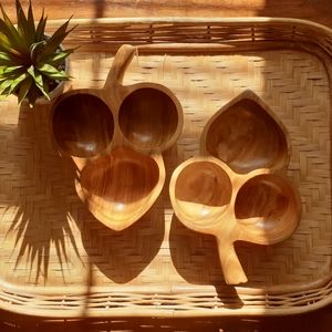 Double Leaf Wooden Trays Set